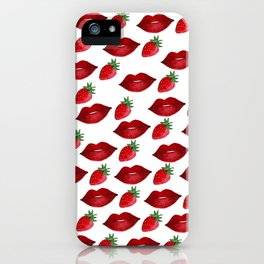 Hand painted red green strawberries lips pattern iPhone Case