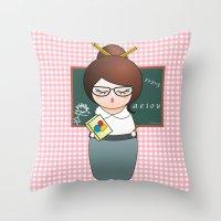 teacher Throw Pillows featuring Kokeshi Teacher  by Pendientera