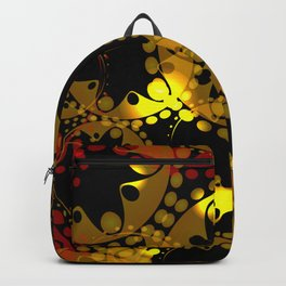 abstract glowing pattern of gears and spheres in red gold on a black background for fabrics o Backpack
