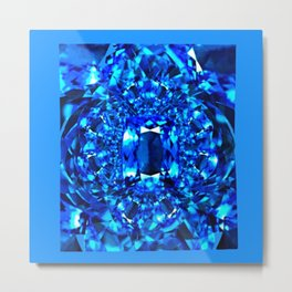 Dreaming  in Blue-Teal Sapphire Gems Abstract Art Metal Print
