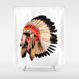 native american indian chief headdress (indian chief mascot, indian tribal headdress, indian headdress) Shower Curtain