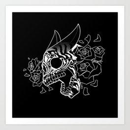 Skull 'n' Roses (NightmareNetty-Black&White) Art Print