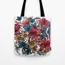 Tropical pattern with hibiscus flowers. Hawaii style watercolor Tote Bag