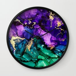 Mardi Gras Alcohol Ink Artwork Wall Clock