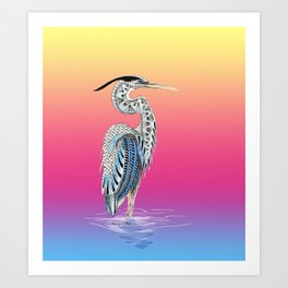 Great Blue Heron Totem Art Print