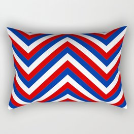 Red White and Blue French Flag Jumbo Chevron Pattern Rectangular Pillow