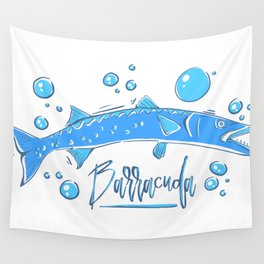 Big Blue Barracuda Wall Tapestry