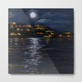 San Clemente Beach at Night from the Pier Metal Print