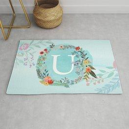 Personalized Monogram Initial Letter U Blue Watercolor Flower Wreath Artwork Rug