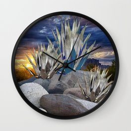 AGAVE CACTUS & GREY ROCKS SUNSET LANDSCAPE Wall Clock