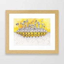 What is Life? Yellow Caterpillar / Mushrooms Painting Framed Art Print