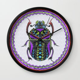 Egyptian Scarab Beetle - Silver & color metallic Wall Clock