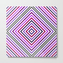 Lilac Grey Colorful Rhomb - Whimsical Psychedelic Retro Geometric Pattern Metal Print