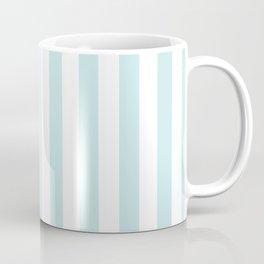Duck Egg Pale Aqua Blue and White Wide Vertical Beach Hut Stripe Coffee Mug