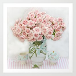 Romantic Shabby Chic Cottage Pink Roses In Vase Still Life Floral Prints Home Decor Art Print