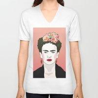 frida V-neck T-shirts featuring Frida by Amanda Corbett