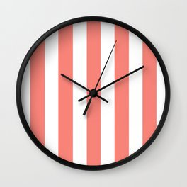 Tea rose pink - solid color - white vertical lines pattern Wall Clock