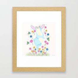 Bouncing Baby Blue Bunny Framed Art Print