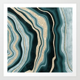 Modern agate geode turquoise champagne glitter marble pattern Art Print