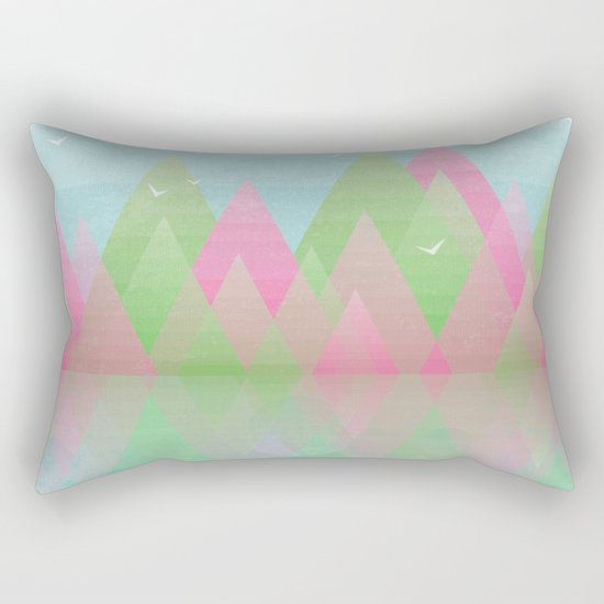 Geometric Lake Mountain I - Spring Rectangular Pillow