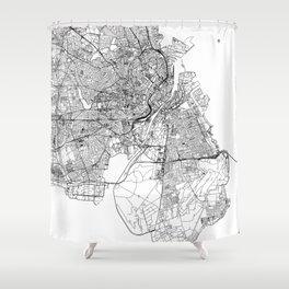Copenhagen White Map Shower Curtain