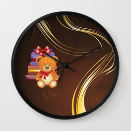 Teddy bear with gift boxes Wall Clock