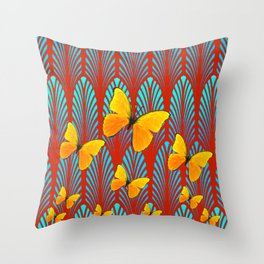 YELLOW ART DECO BUTTERFLIES & CUMIN COLOR ART Throw Pillow