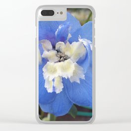 True Blue Delphinium Clear iPhone Case