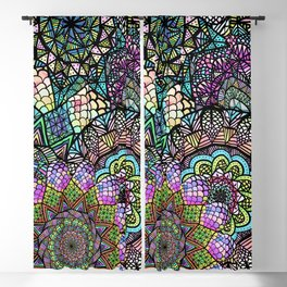 Colorful Floral Mandala Pattern with Geometric Drawings Blackout Curtain