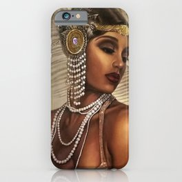 African American Masterpiece 'Cotton Club Flapper Dance Girl' Portrait Painting iPhone Case