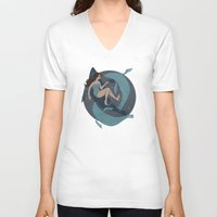 nautical V-neck T-shirts featuring nautical by Louise Hubbard