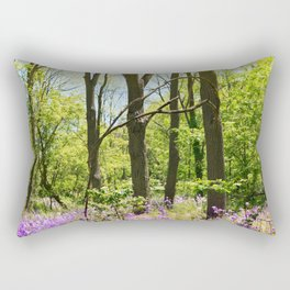 Purple flowers in green forest Rectangular Pillow