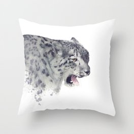 Snow leopard portrait watercolor on white background Throw Pillow