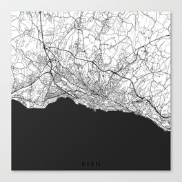 Lausanne Map Gray Canvas Print