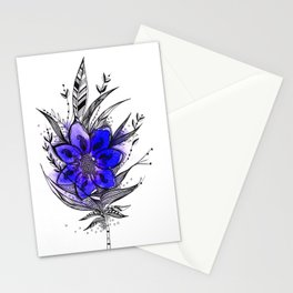 Blue Flower Feather Stationery Cards