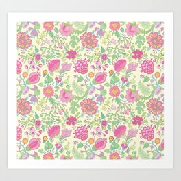 Pink and Peach Flowered curtains Art Print
