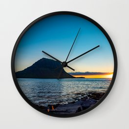 Kirkjufell Iceland at Sunset Wall Clock