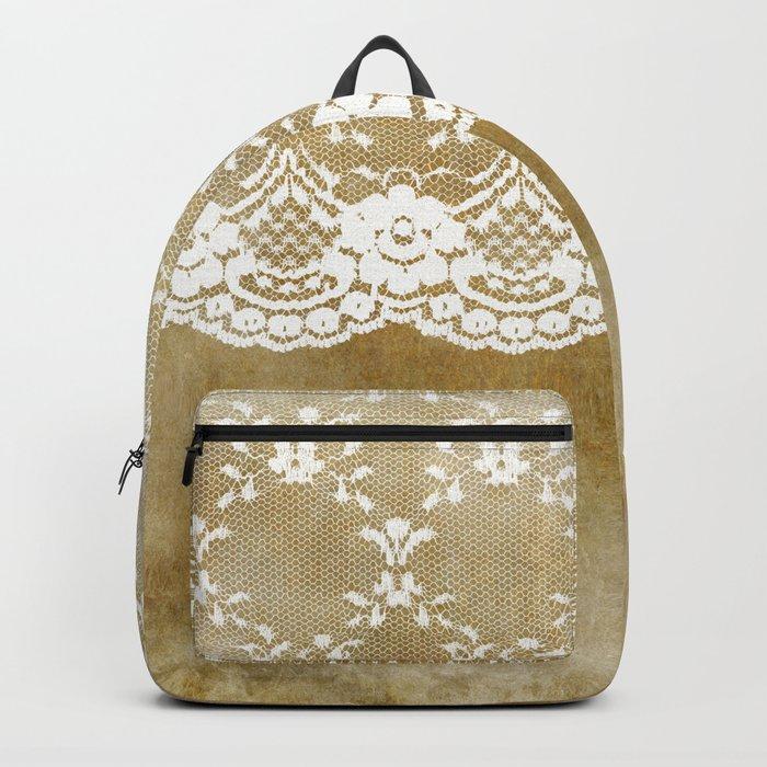 The elegant lady- White luxury foral lace on grunge backround Backpack