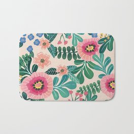 Colorful Tropical Vintage Flowers Abstract Bath Mat