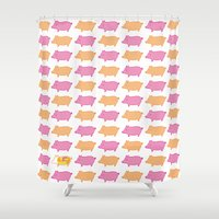 pig Shower Curtains featuring Pig  by Noriko Sato