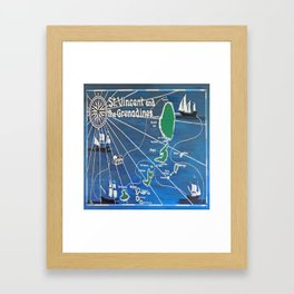 St. Vincent & Grenadines Sailing Map Framed Art Print