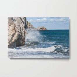 Crashing into rocks Metal Print