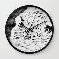 aang Wall Clocks featuring Aang Against the Fire Nation by pigboom el crapo