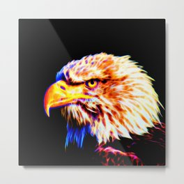 bald eagle 03 neon lines crystal Metal Print