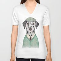 mint V-neck T-shirts featuring Dalmatian Mint by Animal Crew