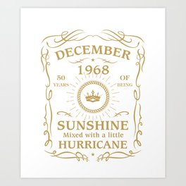December 1968 Sunshine mixed Hurricane Art Print