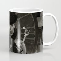 steam punk Mugs featuring Steam Punk - Keeper of Time by J. Ekstrom