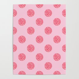 Pink Glitter Polka Dot Pattern Poster