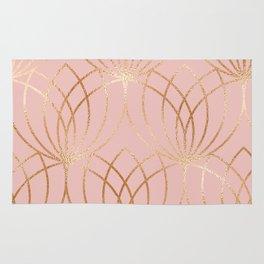 Rose gold millennial pink blooms Rug