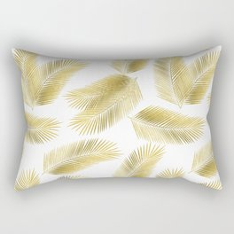 Gold Tropical Palm Leaves Pattern Rectangular Pillow